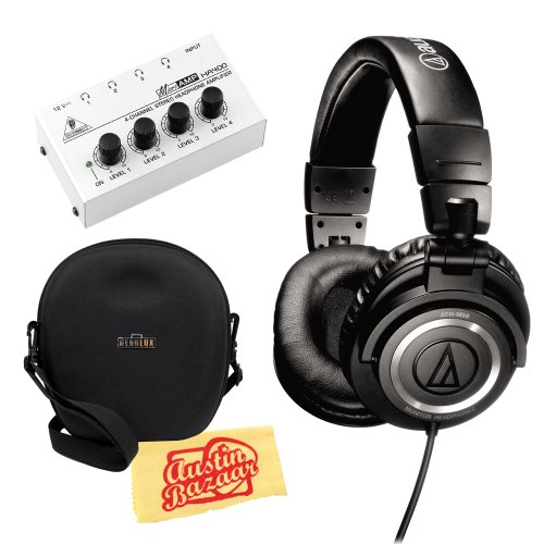 Audio-Technica M50 Professional Monitor Headphones Bundle With Carrying Case, Headphone Amp, And Polishing Cloth