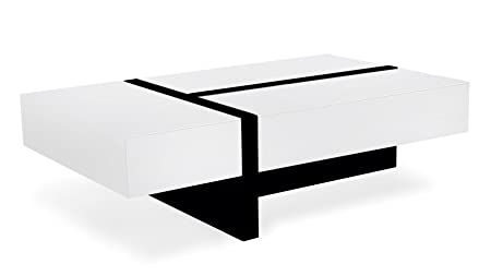 Mcintosh High Gloss Coffee Table with Storage - White Rectangle