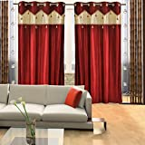 Home Candy Designer Maroon Set of 2 Door Curtains- 7 ft