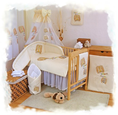 "2 pcs BABY COT BED BUNDLE BEDDING SET DUVET+PILLOW COVERS matching cot bed 120 x 150 cm (47"" x 59"") Cream 1 - 1"