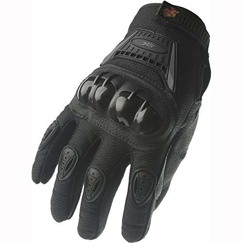 Street Bike Full Finger Motorcycle Gloves 09 (XL, black/silver)