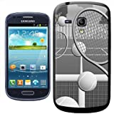 Fancy A Snuggle Tennis Court with Balls and Rackets Clip-on Hard Back Cover for Samsung Galaxy S3 Mini i8190 - Black/White