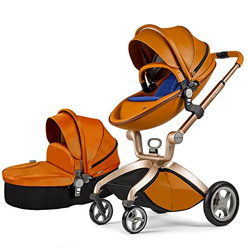 Hot Mom Kombikinderwagen und Buggy Sportwagen 3-in-1 Travelsystem 2016 Fashion mit Kinderwagenaufsatz ,Braun(Blau)