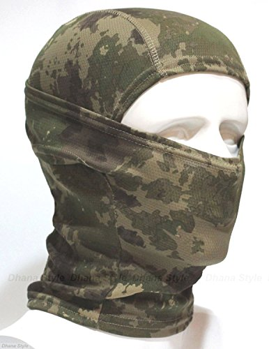 Dhana Style Open-Close Sports Balaclava Army Face Mask Neck warmer Tactical Neck cover - Protects From Wind, Sun, Dust - Gear for all seasons Premium Polyester Type: BXB-Hebi (GREEN-Camo) (Head Cover Camo compare prices)