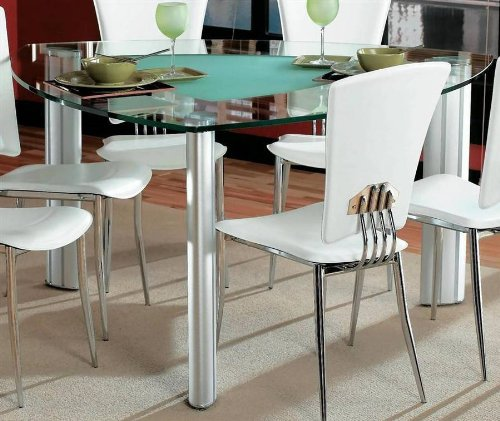Cheap Tracy Triangle Glass Top Counter Dining Table by Chintaly Imports (TRACY-575757)