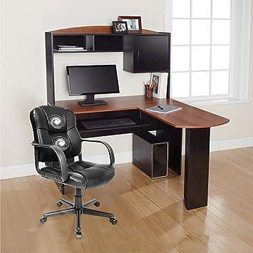 Superb Home Office Desks Corner L shaped Desk with Hutch Black and Cherry Office