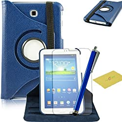 Fulland Colorful 360 Rotating Flip Leather Case Cover for Samsung Galaxy Tab3 7.0 P3200 with Smart Auto Wake/Sleep Function plus Stylus Touch Screen Pen and Screen Protector-Dark Blue