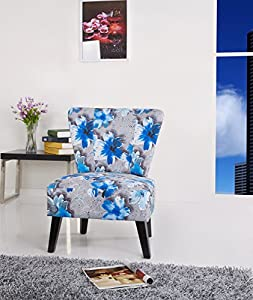 Amazon Com Cora Patterned Fabric Accent Chair Blue