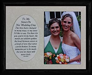 Wedding Day Gift For My Sister : 8x10 TO MY SISTER ON HER WEDDING DAY ~ Photo & Poetry BLACK Frame w ...