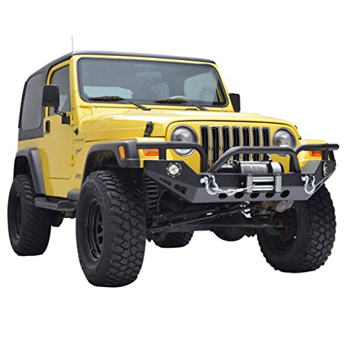 E-Autogrilles YJ TJ Jeep Wrangler Xtreme Front Bumper with LED Lights and Winch Plate Jeep