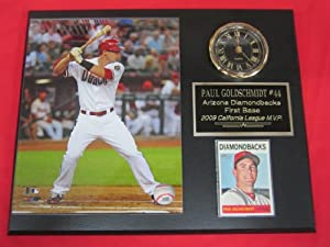 Paul Goldschmidt Arizona Diamondbacks Clock Plaque w 8x10 Photo and Card by J & C Baseball Clubhouse