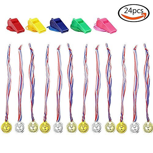 ENJOJ Award Medals (2 Dozen) Gold Silver Bronze Olympic Style Award Medals and 5 Whistles (Medals Gold Silver Bronze compare prices)