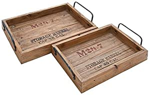 """Rustic Wood Tray Set Of 2, S/2 18"""", 15""""W, NATURAL WOOD"""