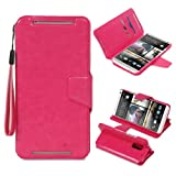 GreatShield (TM) HTC One Max / HTC T6 (SHIFT LX) Premium PU Leather Wallet Case Cover with Stand Function and Card Pocket Slot (Pink)