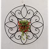 Green Gardenia Iron Spanish Round Wall Bracket Small With Metal Bucket-Red