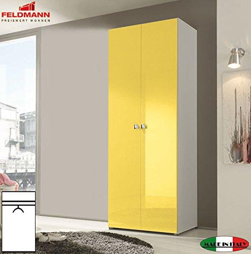Kleiderschrank Schlafzimmerschrank 55021 2-türig weiß / gelb Hochglanz 81cm
