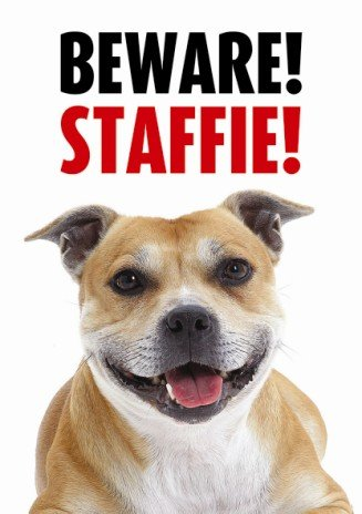 Beware Staffie Gate/Door Sign