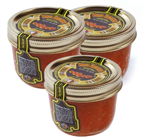 Tsar's Salmon (Red) Caviar 200 g (7 oz.). Pack of three jars