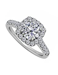 Cubic Zirconia Halo Engagement Ring In Sterling Silver 1.75 CT TGW