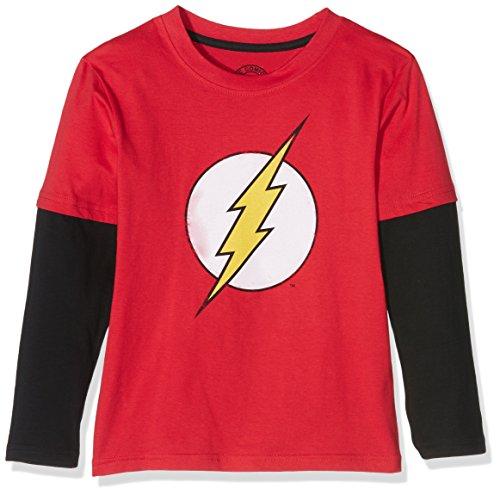 DC Comics Flash Distress Logo-Boys-L/S T-Shirt B, Maglia a Maniche Lunghe Bambino, Multicolore (Red/Black), 9-10 Anni (Taglia Produttore: 9-10 Years)