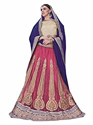 Ishin Net Chiffon Party Wear Embellished Pink & Blue Lehenga