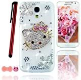 Ancerson Hot Sale Cute Fashion Design 3D Handmade Bling Shining Lovely Hot Popular Pink Bow Bowknot Bowtie Hello Kitty Glitter Elegant Silver Flowers Girly Crystal Dimond Decorate Rhinestones Handcraft Transparent Clear Protective Hard Case Cover Shell f