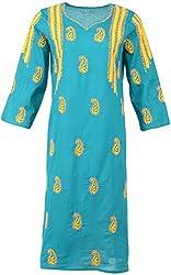 ALMAS Lucknow Chikan Women's Cotton Regular Fit Kurti (Bottled Green and Yellow)