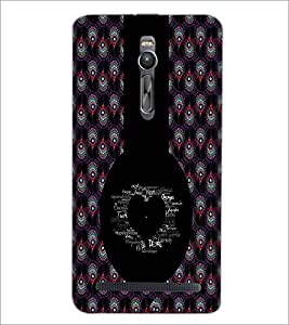 PrintDhaba Typographic Heart D-2956 Back Case Cover for ASUS ZENFONE 2 (Multi-Coloured)