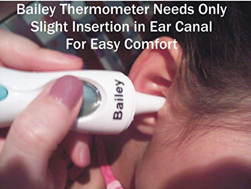 Bailey Digital Infrared Thermometer - Easy To Use For Any Baby, Child, Or Adult - Ear, Temporal Artery, And Forehead - Best 100% Money Back Guarantee - Can Be Used With Non-Contact Methods