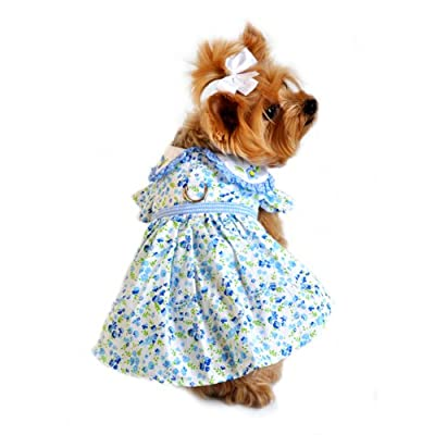 Doggie Design Blue & White Flower Dress Xs