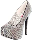 Pleaser BORDELLO Silver Rhinestone Platform Court Heels Burlesque Teeze Shoes (Ladies UK 5 / EU 38 / US 8)