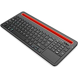 Nulaxy KM04 Dual Device Multi-OS Bluetooth Keyboard with Touchpad Dock Cradle for All Tablets and Smartphones