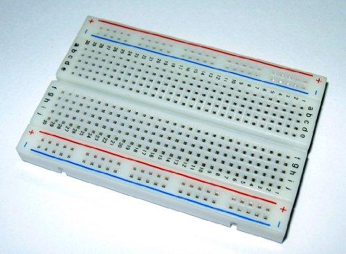 BB400 Solderless Plug-in BreadBoard, 400 tie-points, 4 power rails, 3.3 x 2.2 x 0.3in (84 x 55 x 9mm)