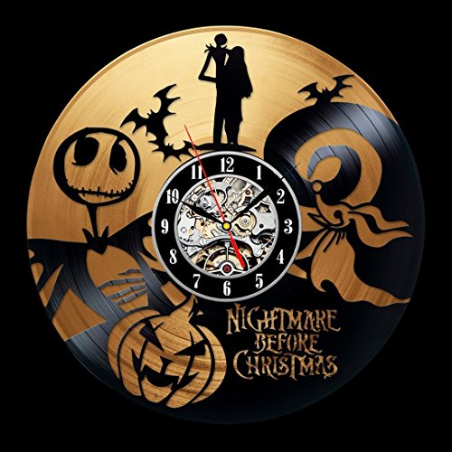 The Nightmare Before Christmas Love Story Gold Wall Clock - Decorate your home with Modern Large Jack and Sally Disney Precious Art - Best gift for Anniversary, Him and Her - Win a prize for feedback