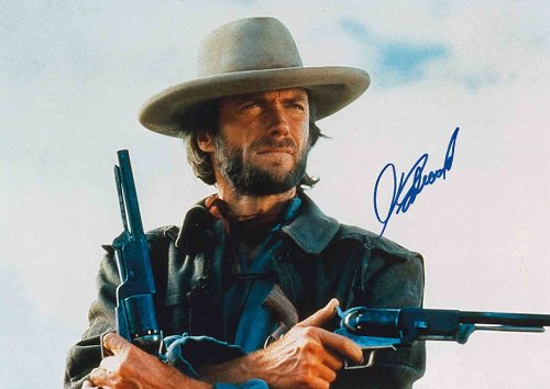 Clint Eastwood 8 1/2 x 11 Color Photograph w/ Printed Signature