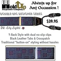 Dramatic Citylights pattern suspenders with dual clips