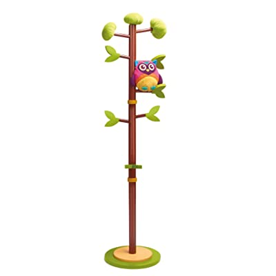 Oops Little Helper 1.35m Wooden Coat Stand in Adorable Woodland Wonderland Theme with Detachable Soft Owl Toy