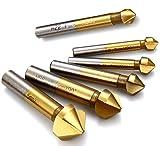 KRW 面取り90度 カウンターシンク 6本セット 3刃数 6.3mm 8.3mm 10.4mm 12.4mm 16.5mm 20.5mm チタンコーティング
