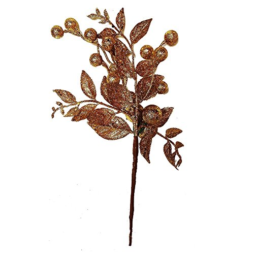 Glittered Gold Ball Berry Leaf Pick by Darice Christmas Flowers Floral