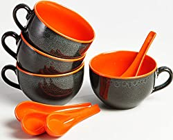 Studio Grey and Orange Jumbo Soup Bowls - Set of 4 Bowls and 4 Spoons
