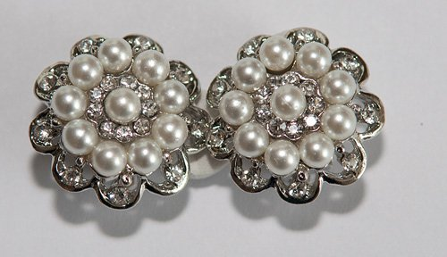 Stately Flower Pearl Clip On Earrings - Perfect Mother of the Bride Jewelry