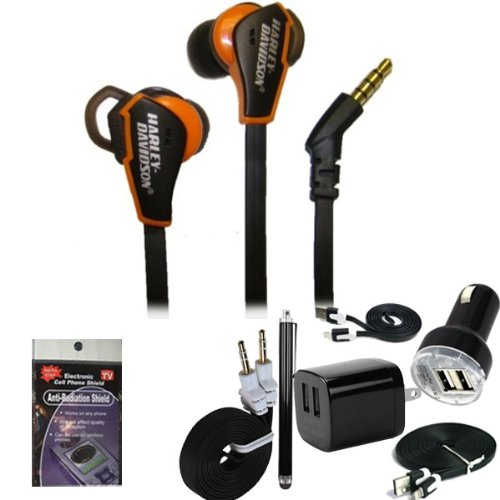 Harley Davidson 3.5Mm High Quality, Black And Orange Premium Sound Earphones 7303 For Iphone 5S, 5C, Ipad Mini, Ipad Air. Comes With 5Pc Usb Power Kit: 3Ft Cable, 10 Ft Cable, Usb Car Charger, Usb House Charger, Aux Cord, Stylus Pen And Radiation Shield.
