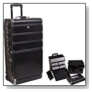 4-in-1 Black Diamond Pattern Professional Rolling Makeup Case - C6002