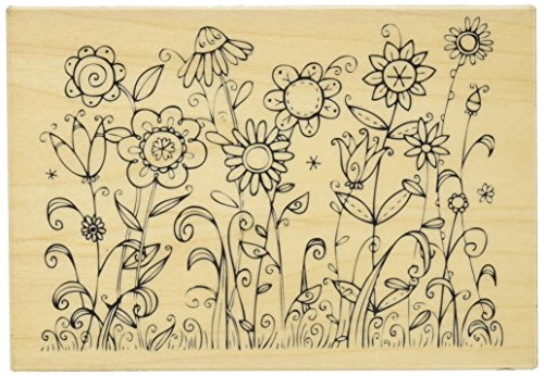 Hampton Art Outline Design Sunbathing Rubber Stamp