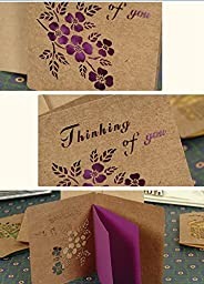 Zcargel New Arrival Pack of 16 Vintage Classic Pierced Style Mini Retro invitation Card with Envelopes,for Wedding, Birthday Party