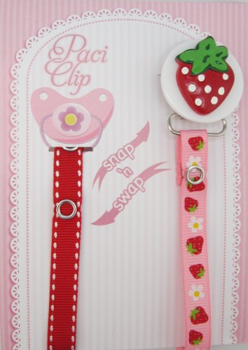 Red Strawberry Ribbon Pacifier Clip