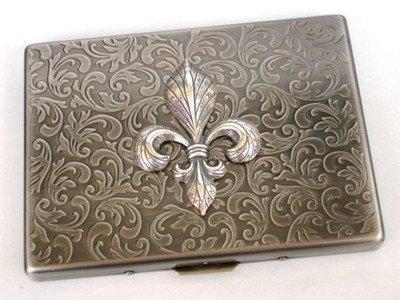 Steampunk Metal Fleur De Lis Cigarette Case Slim Wallet Large Card Case Ass1