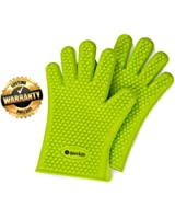 Highly Rated Silicone BBQ Gloves - Perfect For Use As Heat Resistant Cooking Gloves, Grill Gloves, Or Potholder - Directly Manage Hot Food In The Kitchen, Use As Grilling Gloves, Oven Gloves, Or At The Campsite! - Protect Your Hands And Avoid Accidents With Insulated Waterproof Five-Fingered Grip - Far More Shield And Versatility Than Oven Mitts - 1 Pair Number 1 in Service Silicone BBQ Gloves - FREE Premium Hassle-Free Lifetime Guarantee! - Green