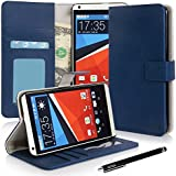 HTC Desire 816, E LV HTC Desire 816 Deluxe PU Leather Wallet / Purse Case Cover for HTC Desire 816 with 1 Stylus and 1 E LV Microfiber Digital Cleaner - Dark Blue