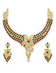 Sukkhi Brilliant Gold Plated Meenakari AD Necklace Set